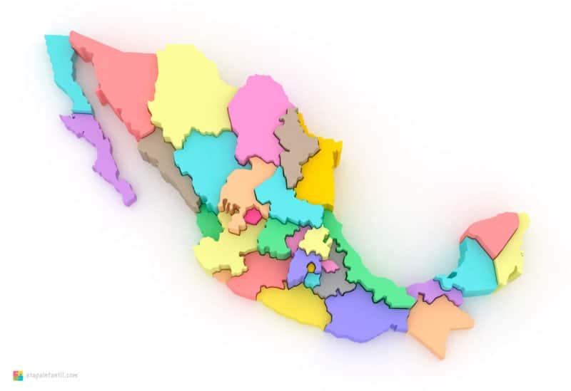 Mapa tridimensional y mudo de México para imprimir