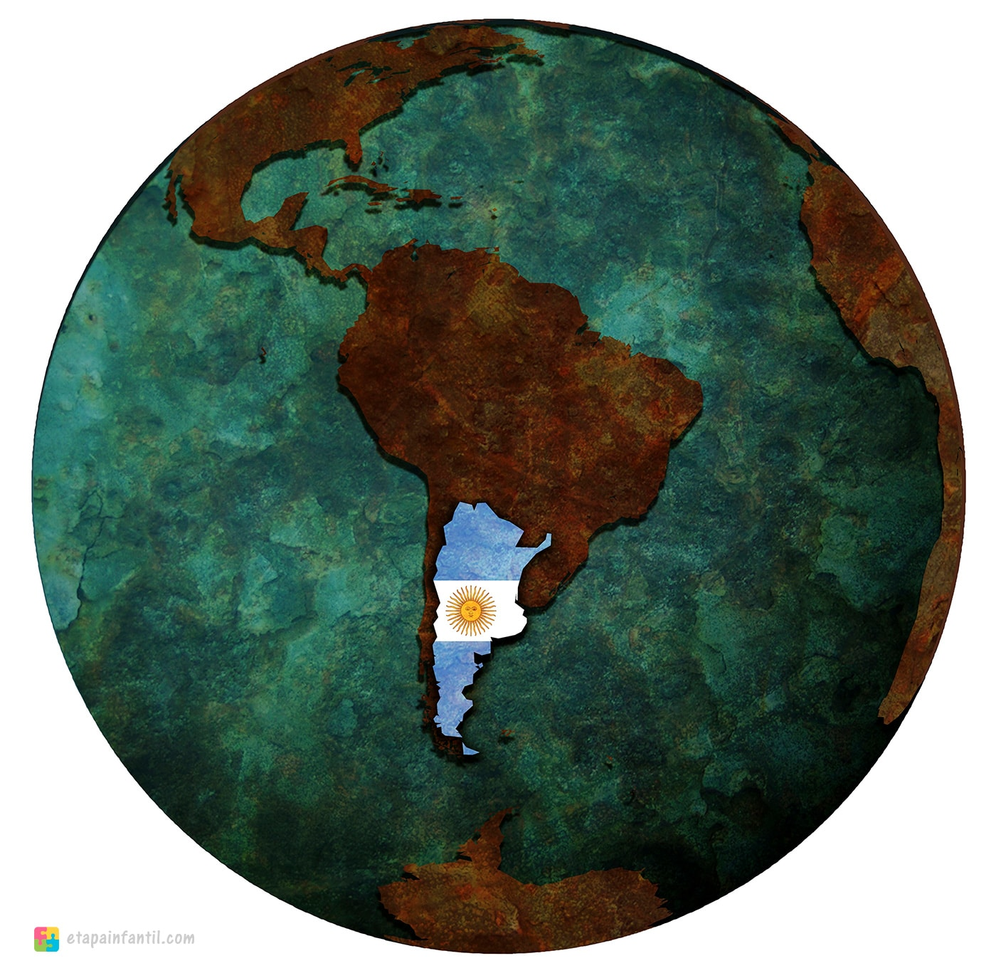 Mapa de Argentina en América para imprimir