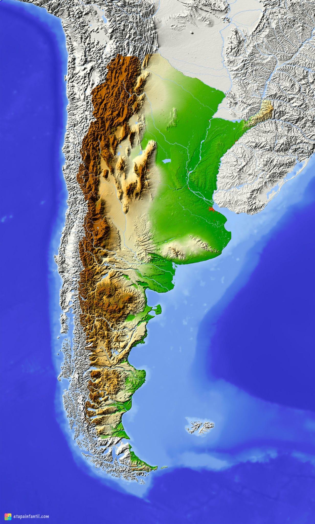 Mapa físico de Argentina para imprimir