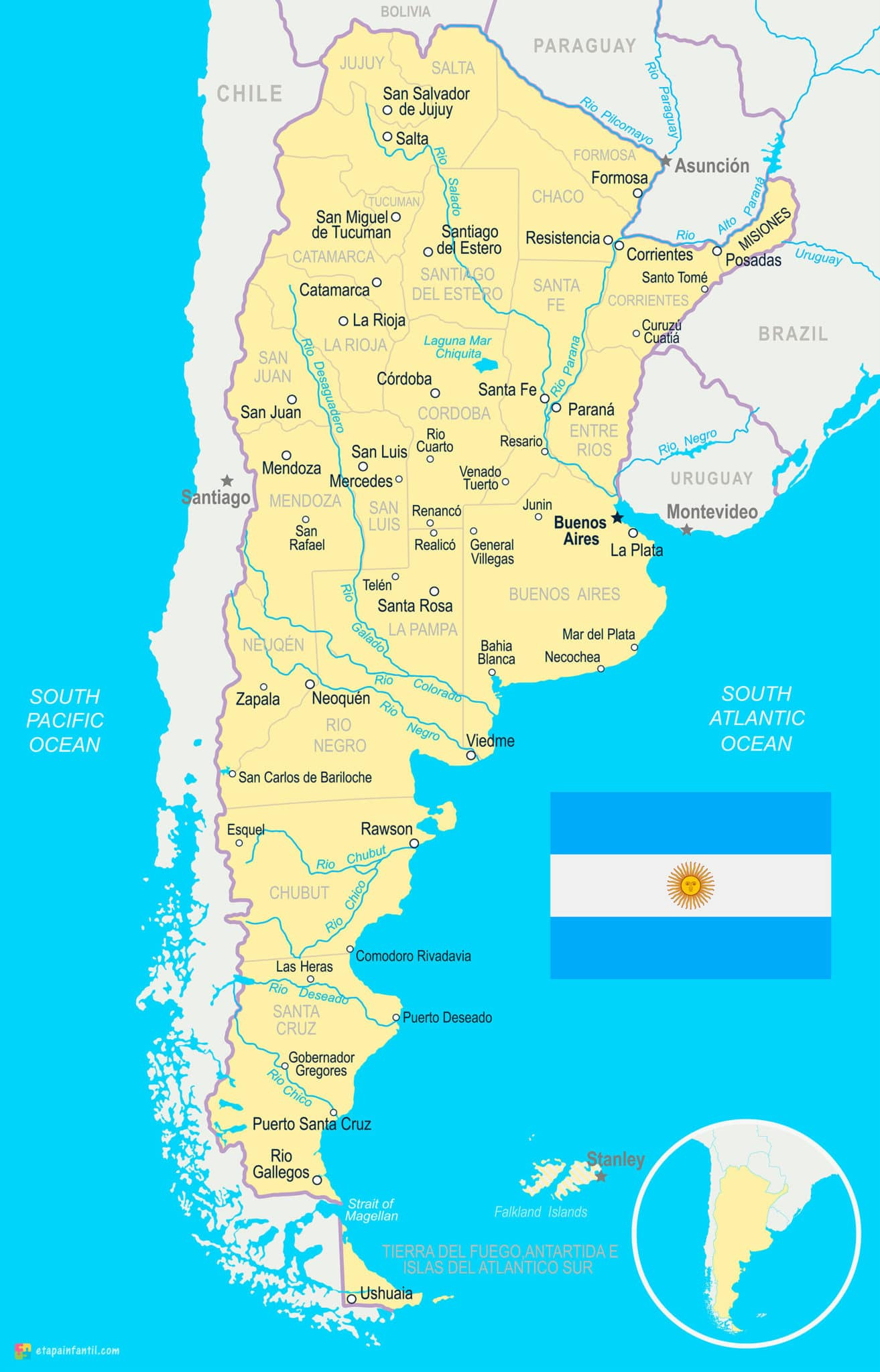 Mapa físico de ríos, lagos y lagunas de Argentina para imprimir