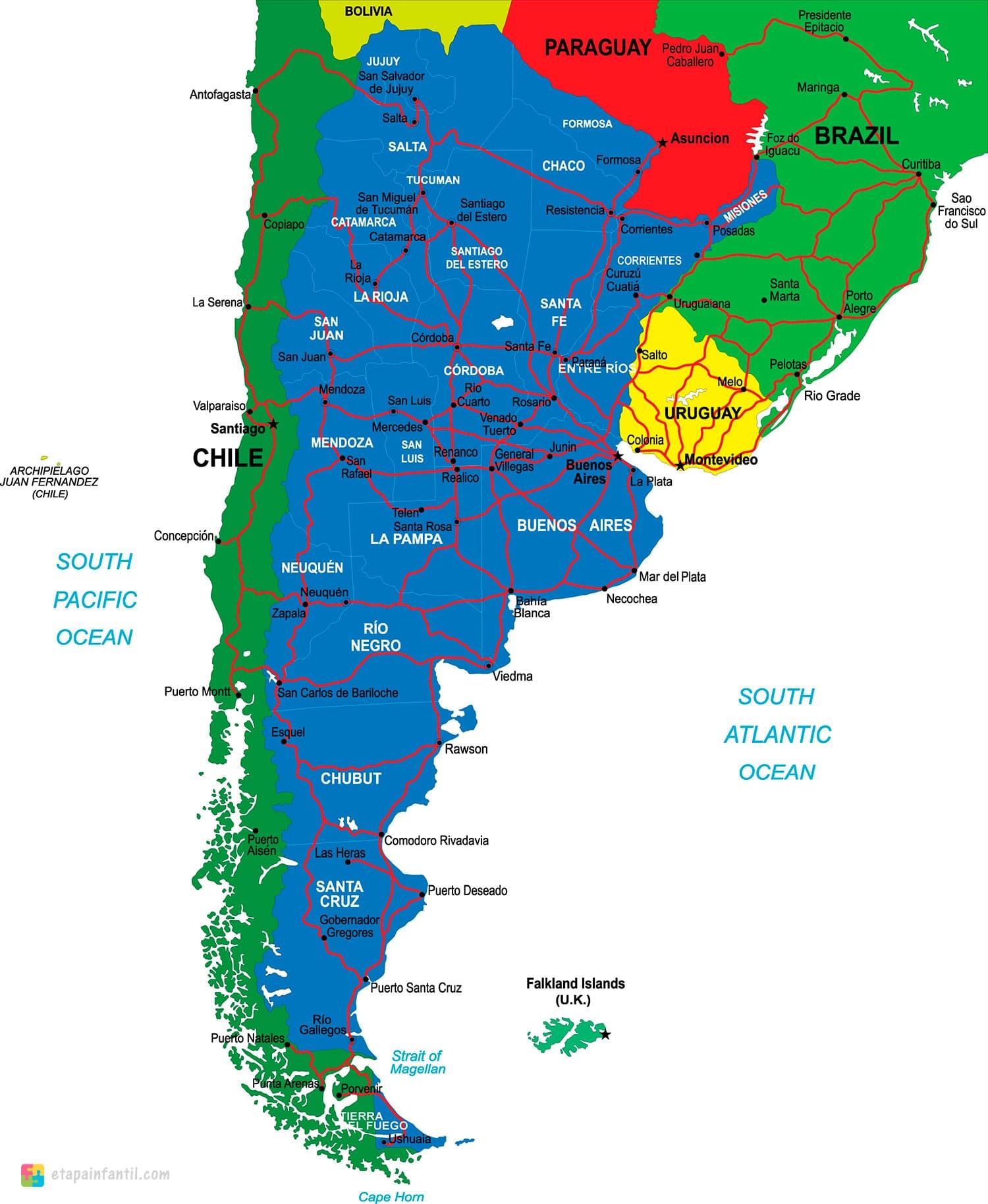 Mapa de fronteras de Argentina para imprimir