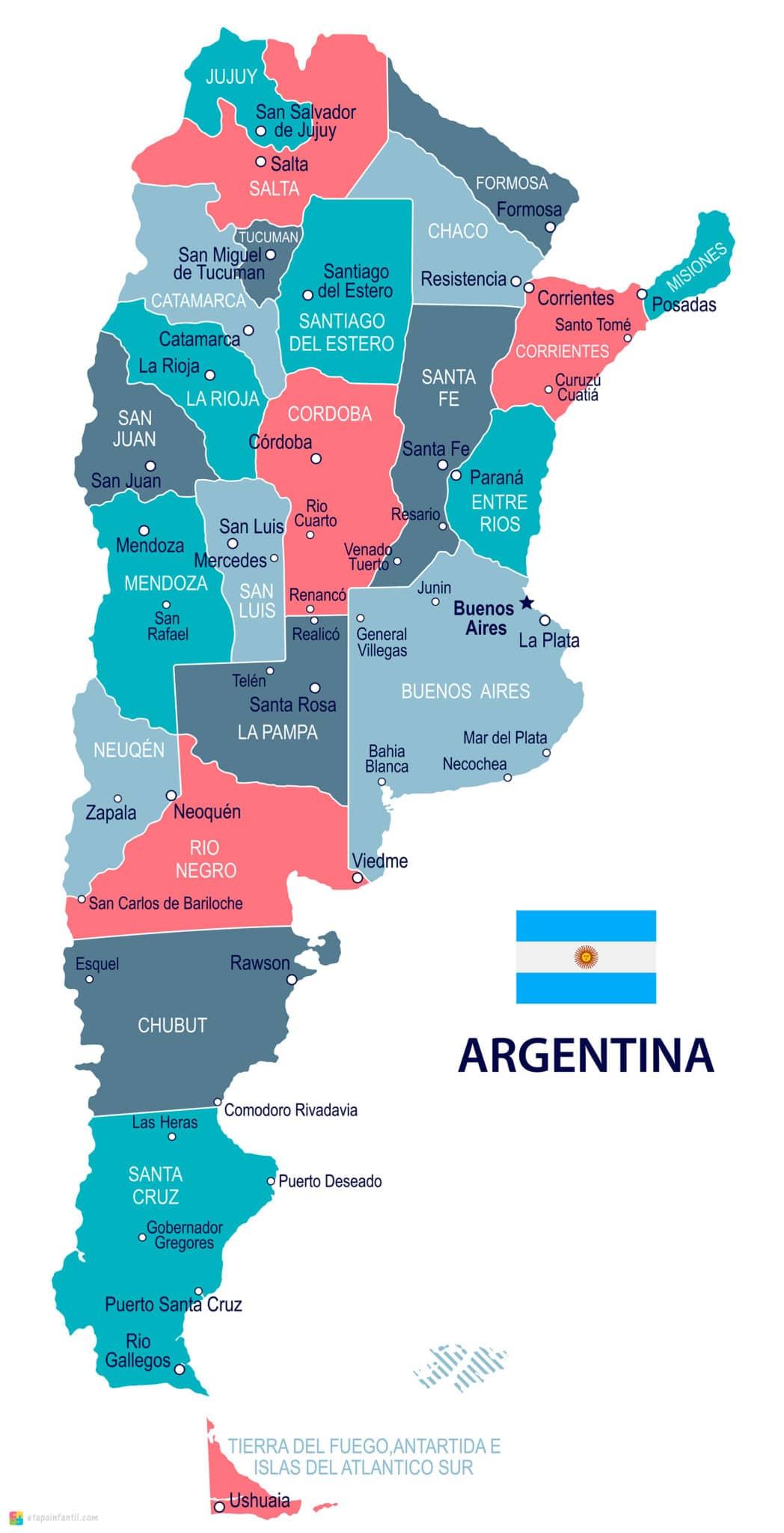 Mapa político de Argentina con nombres para imprimir