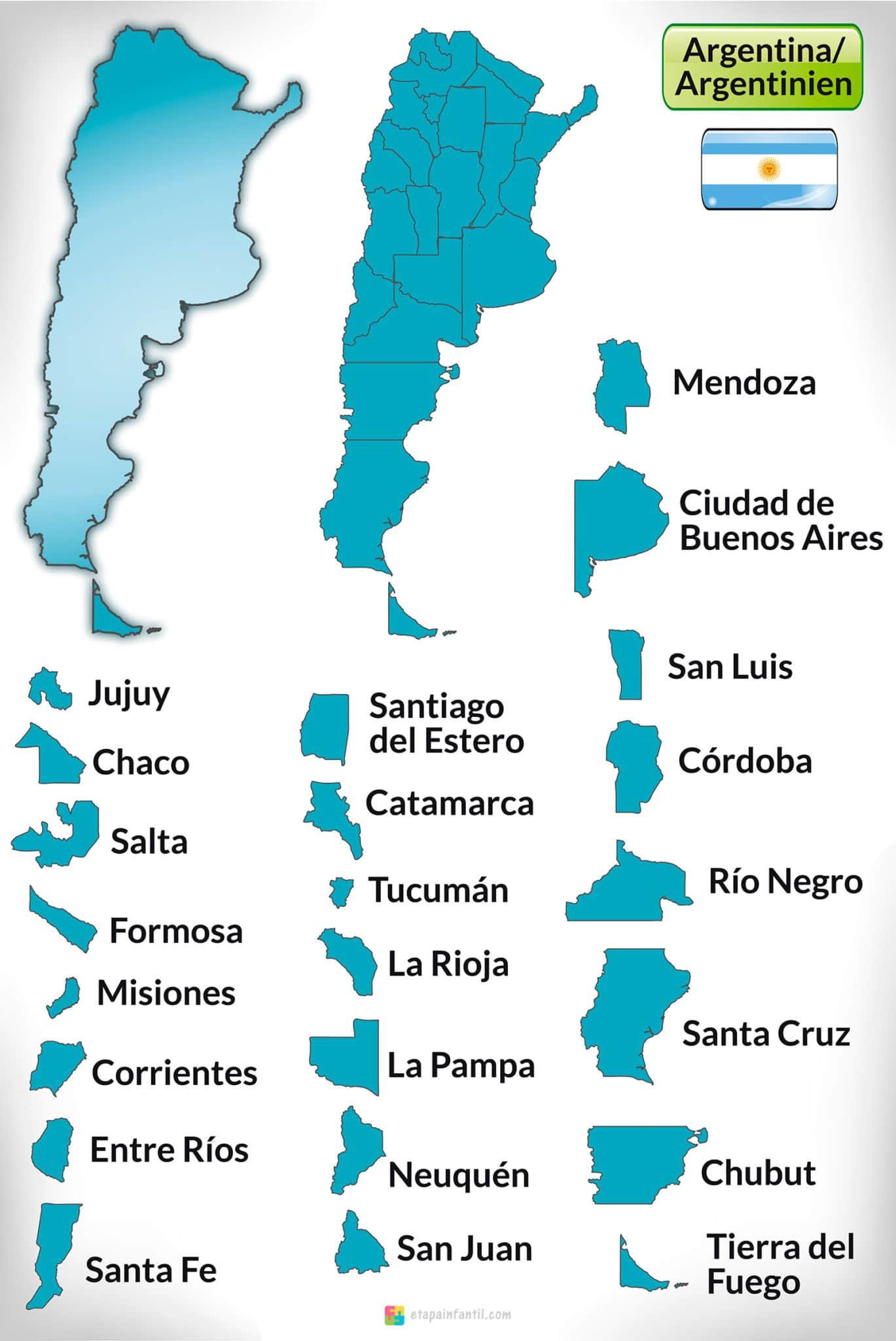 Mapa de Argentina con los nombres de las provincias para imprimir