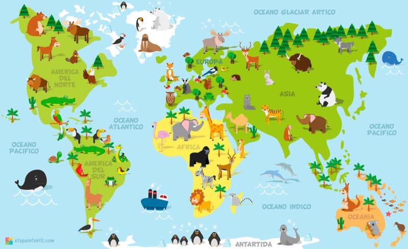 Mapa de los animales representativos de cada continente