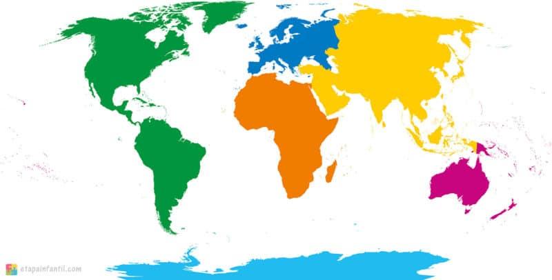 Mapa de los continentes mudo para imprimir