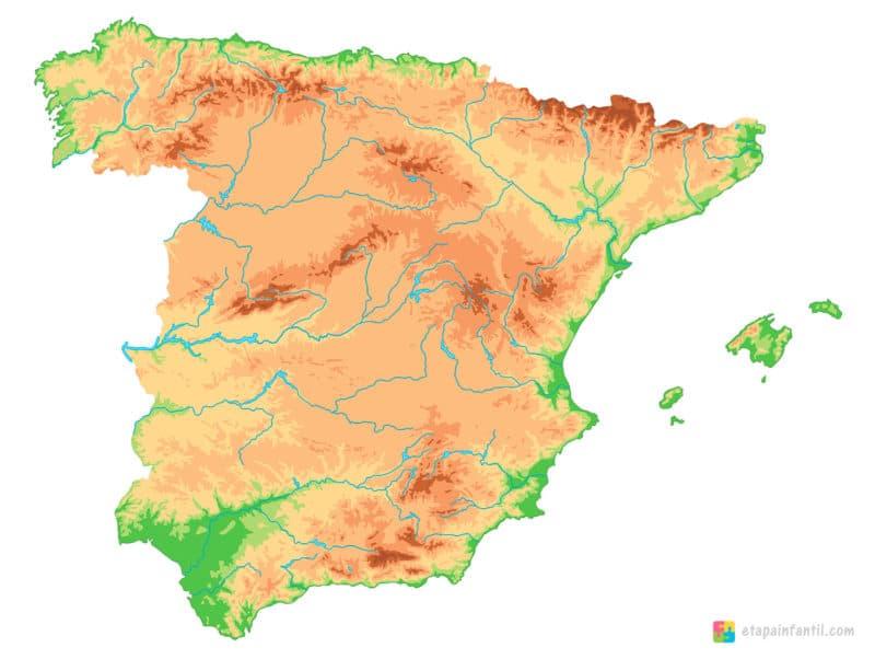 Mapa físico mudo de los ríos de España