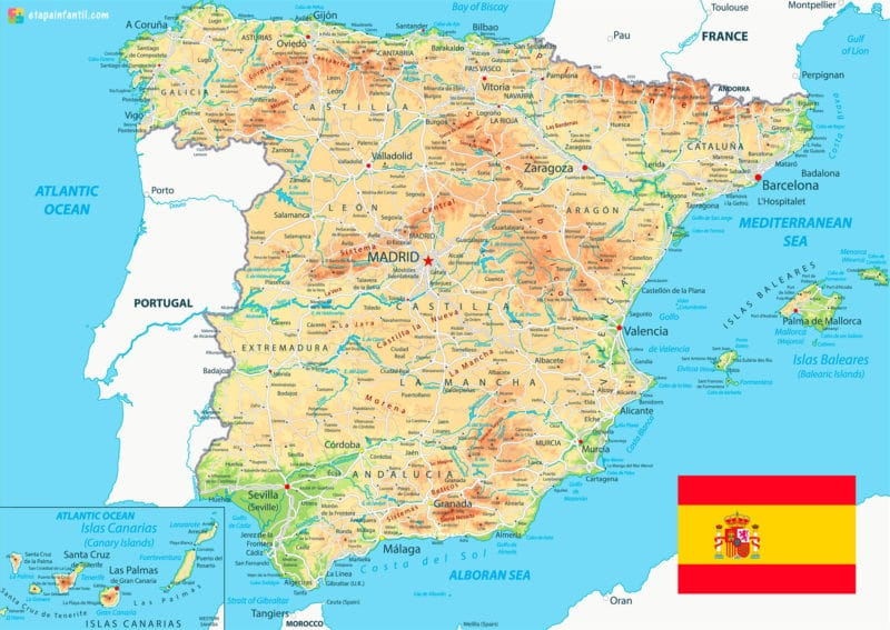 Mapa físico de ríos y afluentes en España
